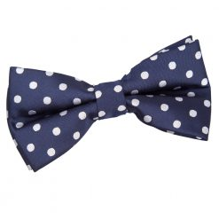 Navy Blue Polka Dot Pre-Tied Thistle Bow Tie