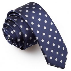 Navy Blue Polka Dot Skinny Tie