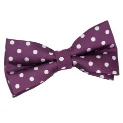 Purple Polka Dot Pre-Tied Thistle Bow Tie