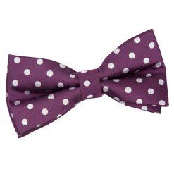 Purple Polka Dot Pre-Tied Thistle Bow Tie