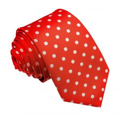 Red Polka Dot Slim Tie