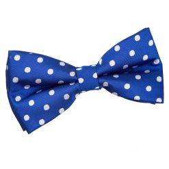 Royal Blue Polka Dot Pre-Tied Thistle Bow Tie