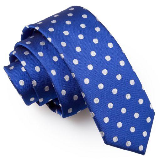 Royal Blue Polka Dot Skinny Tie