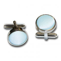 Baby Blue Satin Inlay Silver Plated Cufflinks