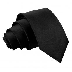 Black Satin Slim Tie