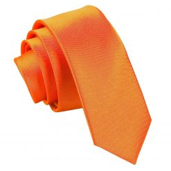 Burnt Orange Satin Skinny Tie