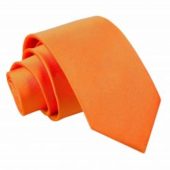 Burnt Orange Satin Slim Tie