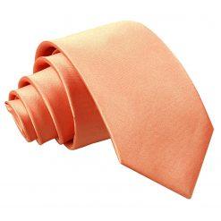 Coral Satin Slim Tie