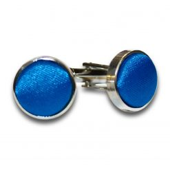 Electric Blue Satin Inlay Silver Plated Cufflinks
