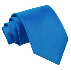 Electric Blue Satin Extra Long Tie
