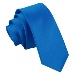 Electric Blue Satin Skinny Tie