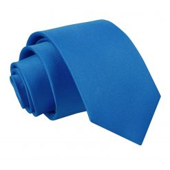 Electric Blue Satin Slim Tie