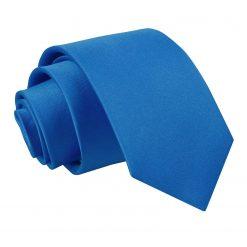 Electric Blue Satin Slim Tie