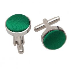 Emerald Green Satin Inlay Silver Plated Cufflinks