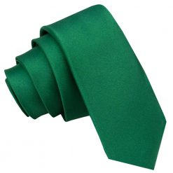 Emerald Green Satin Skinny Tie