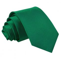 Emerald Green Satin Slim Tie