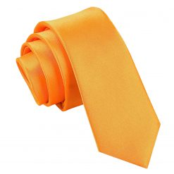 Fluorescent Orange  Satin Skinny Tie