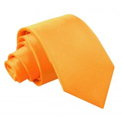 Fluorescent Orange Satin Slim Tie