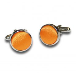 Fluorescent Orange Satin Inlay Silver Plated Cufflinks