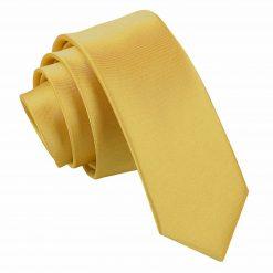 Gold Satin Skinny Tie
