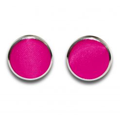 Hot Pink Satin Inlay Silver Plated Cufflinks