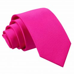 Hot Pink Satin Slim Tie