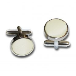 Ivory Satin Inlay Silver Plated Cufflinks