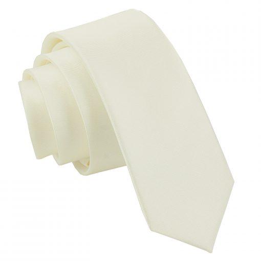 Ivory Satin Skinny Tie