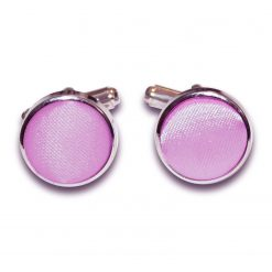 Lilac Satin Inlay Silver Plated Cufflinks