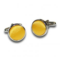 Marigold Satin Inlay Silver Plated Cufflinks