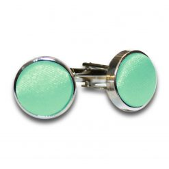 Mint Green Satin Inlay Silver Plated Cufflinks