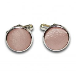 Mocha Brown Satin Inlay Silver Plated Cufflinks