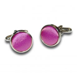 Mulberry Satin Inlay Silver Plated Cufflinks