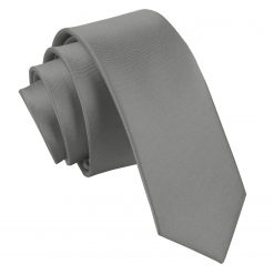 Platinum Satin Skinny Tie