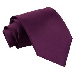 Plum Satin Extra Long Tie