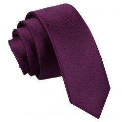 Plum Satin Skinny Tie