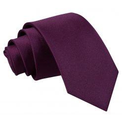 Plum Satin Slim Tie