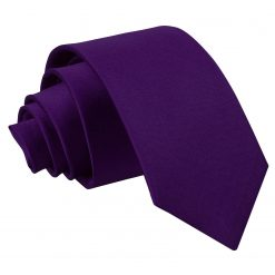Purple Satin Slim Tie