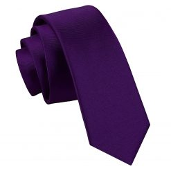 Purple Satin Skinny Tie