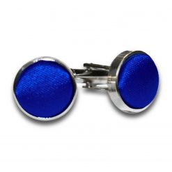 Royal Blue Satin Inlay Silver Plated Cufflinks