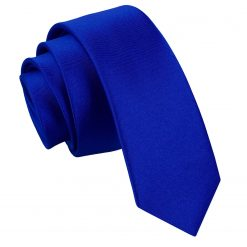 Royal Blue Satin Skinny Tie