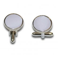 Silver Satin Inlay Silver Plated Cufflinks