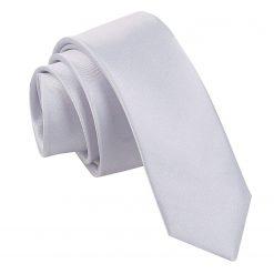 Silver Satin Skinny Tie