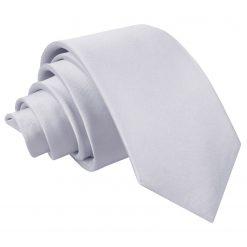 Silver Satin Slim Tie
