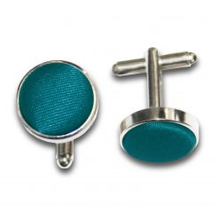 Teal Satin Inlay Silver Plated Cufflinks