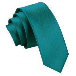 Teal Satin Skinny Tie
