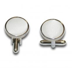 White Satin Inlay Silver Plated Cufflinks