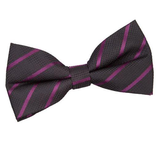 Black & Purple Single Stripe Pre-Tied Thistle Bow Tie