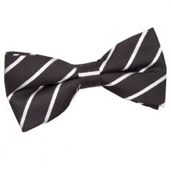 Black & White Single Stripe Pre-Tied Thistle Bow Tie
