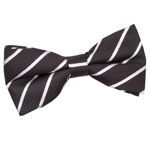Black & White Single Stripe Pre-Tied Thistle Bow Tie